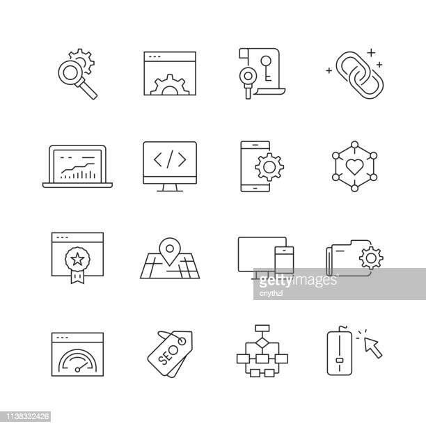 Search Engine Optimization - Set of Thin Line Vector Icons