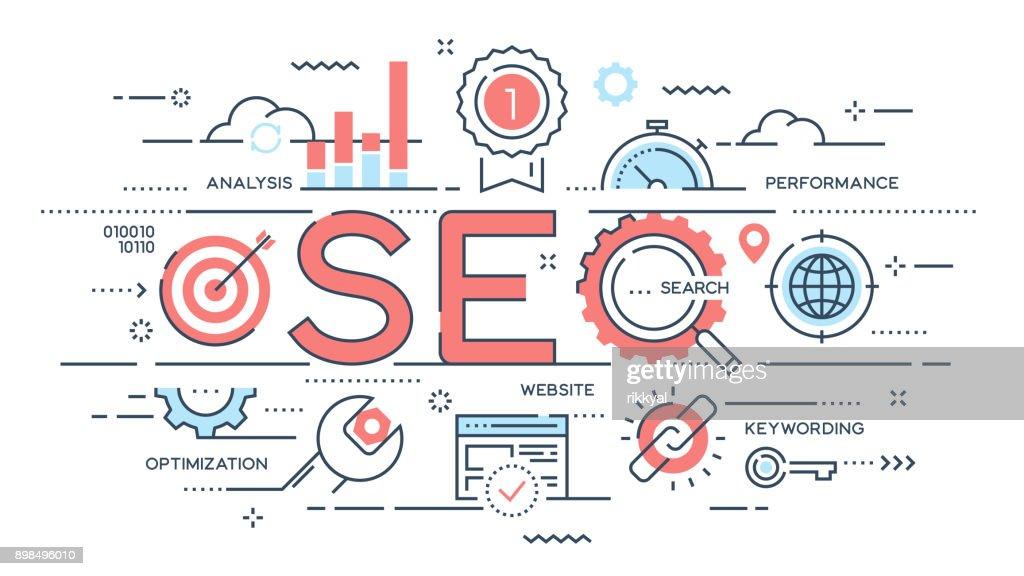 SEO Search engine otimization thin line concept.