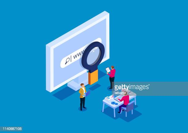 search engine research and debugging - surveillance stock illustrations