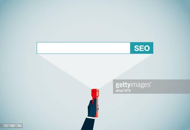 search engine - flashlight beam stock illustrations, clip art, cartoons, & icons