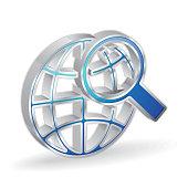 Search Globe 3d Glossy Vector Icon Design