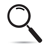Search icon vector flat icon magnifying glass  isolated on white for web mobile app