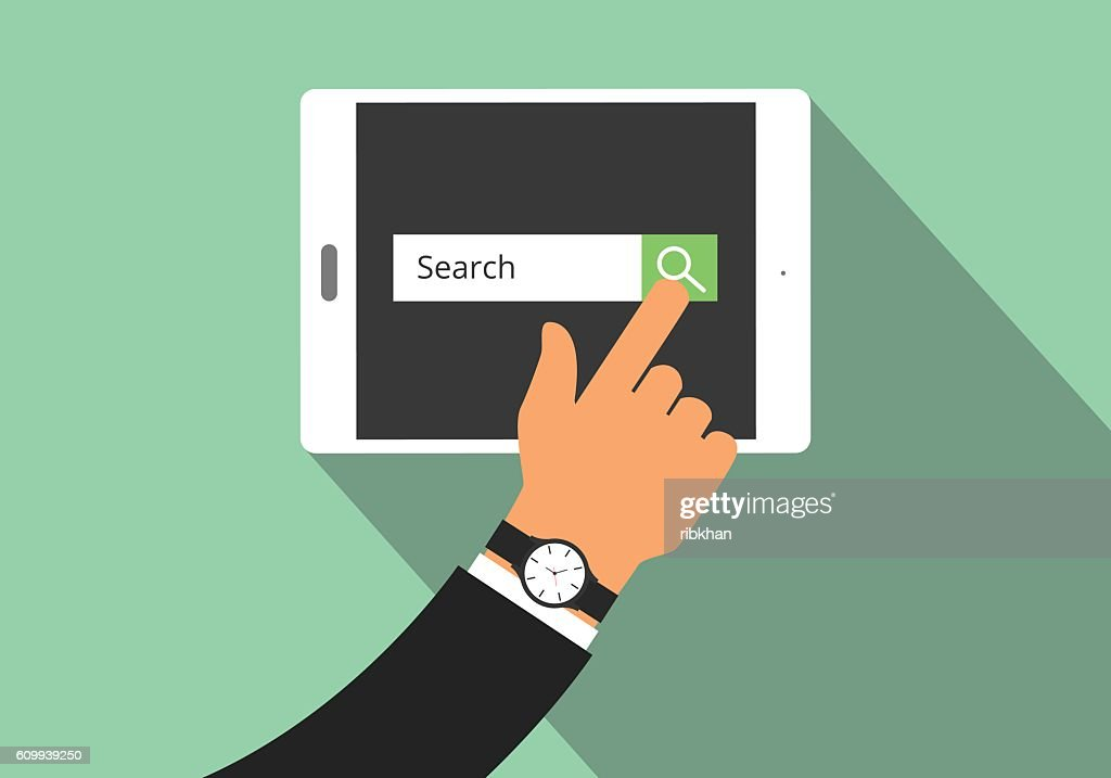 search illustration with hand searching on his tablet  view from