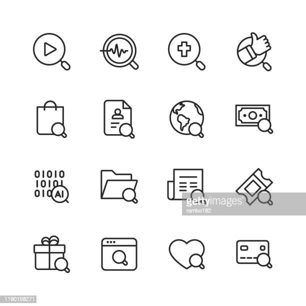 search line icons. editable stroke. pixel perfect. for mobile and web. contains such icons as search, seo, magnifying glass, shopping, investing, artificial intelligence, gift, credit card. - exploration stock illustrations