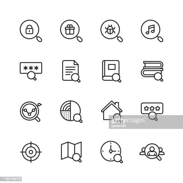 illustrazioni stock, clip art, cartoni animati e icone di tendenza di search line icons. editable stroke. pixel perfect. for mobile and web. contains such icons as search, seo, magnifying glass, job hunting, security, research, real estate, navigation. - polonia