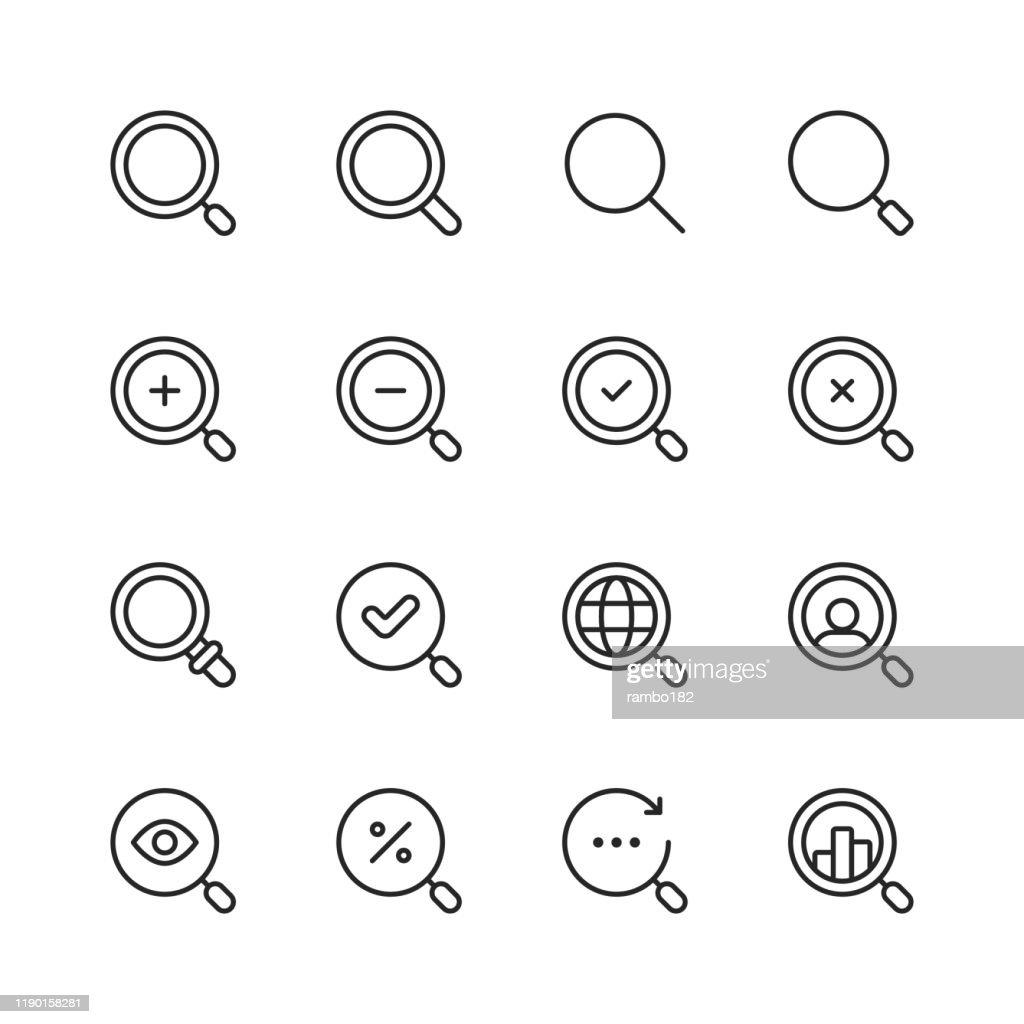 Suchen Sie Liniensymbole. Bearbeitbarer Strich. Pixel perfekt. Für Mobile und Web. Enthält Symbole wie Suche, SEO, Lupe, Job-Jagd, Suche, Suchen, Deal-Jagd. : Stock-Illustration