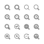 Search Line Icons. Editable Stroke. Pixel Perfect. For Mobile and Web. Contains such icons as Search, SEO, Magnifying Glass, Job Hunting, Searching, Looking, Deal Hunting.