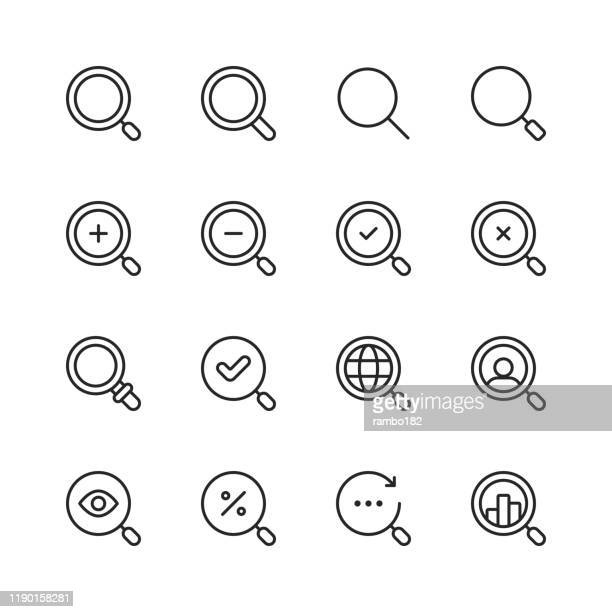search line icons. editable stroke. pixel perfect. for mobile and web. contains such icons as search, seo, magnifying glass, job hunting, searching, looking, deal hunting. - zoom in stock illustrations