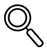 Search magnifying glass line icon vector isolated on white for web mobile app
