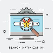 SEO. Search optimization. Thin line concept.
