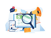 Search result optimization SEO marketing analytics flat vector banner with icons. SEO performance, targeting and monitoring