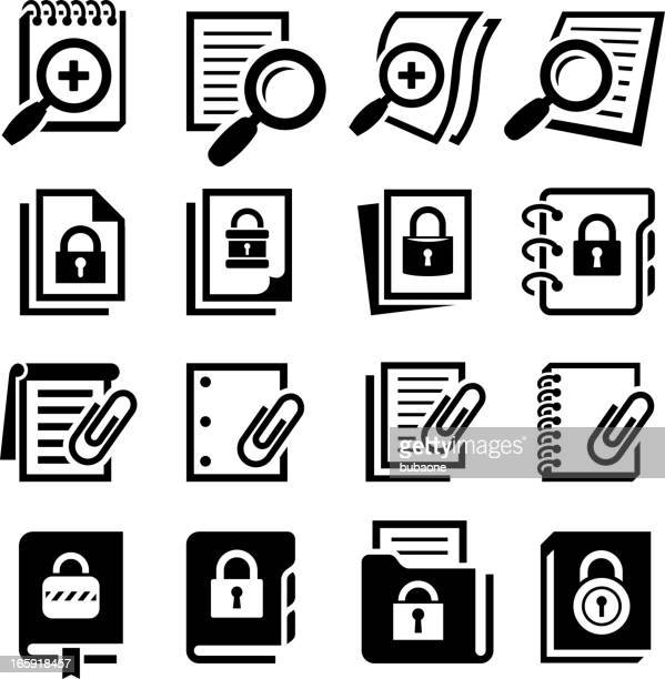 search secure documents with lock black & white icon set - exercise book stock illustrations
