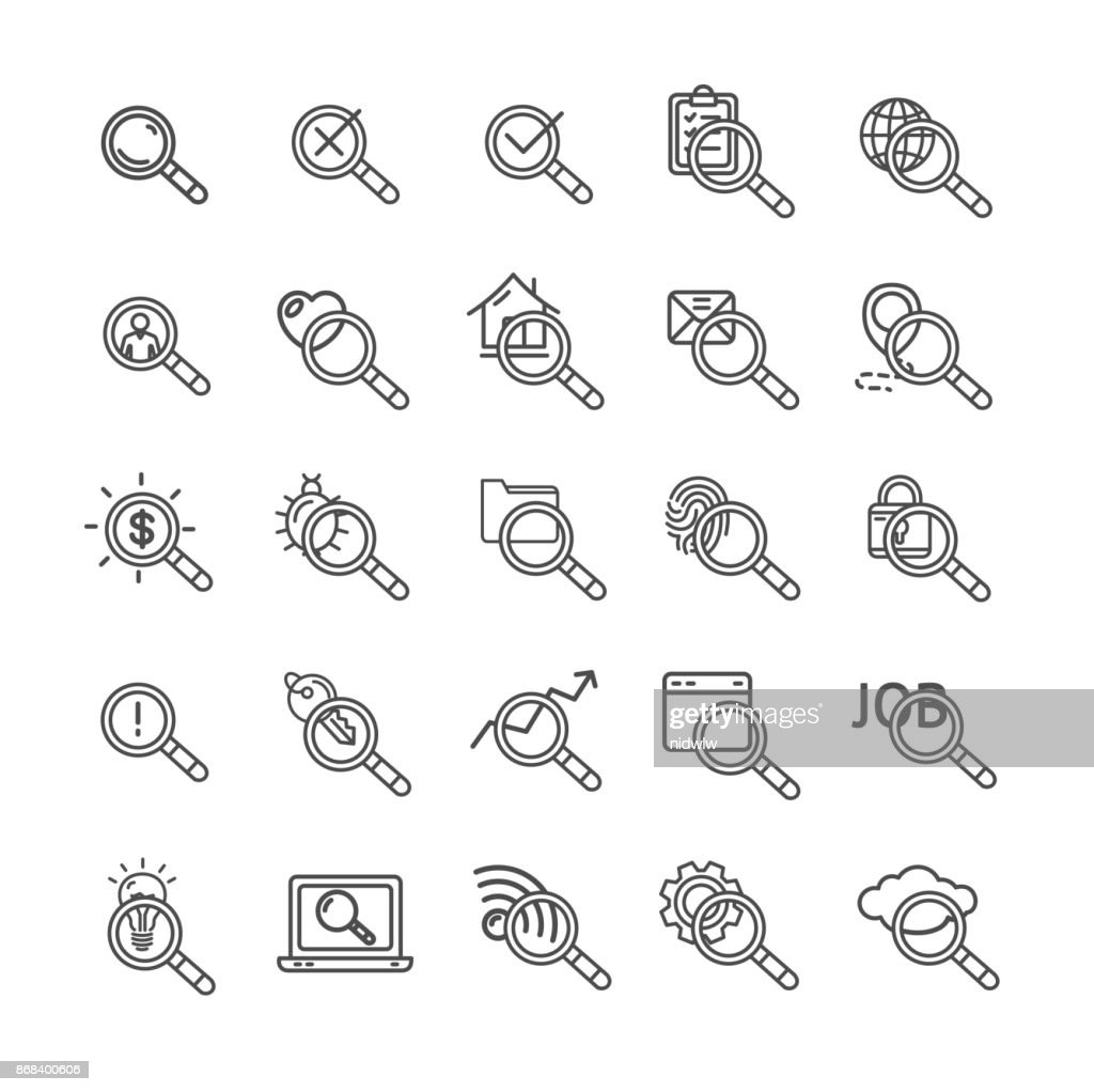 Search Signs Black Thin Line Icon Set. Vector