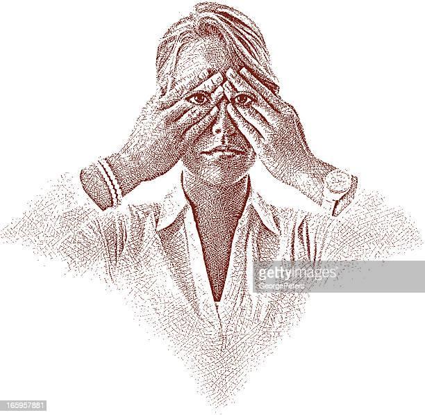 ilustraciones, imágenes clip art, dibujos animados e iconos de stock de buscar y la adversidad - ojos tapados