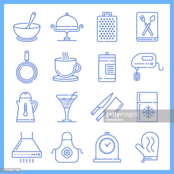 Searching Cooking Recipes Blueprint Style Vector Icon Set