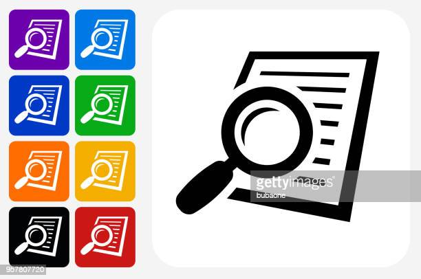 searching documents icon square button set - magnifying glass stock illustrations