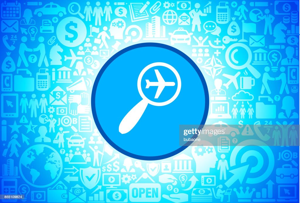 Searching Flights  Icon on Business and Finance Vector Background