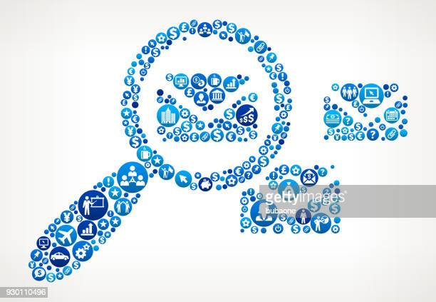 stockillustraties, clipart, cartoons en iconen met op zoek naar een brief business en financiën blauwe pictogram patroon - e mail