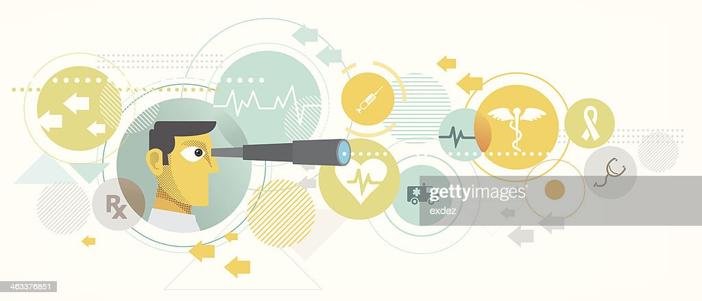Searching for best medical service : stock illustration
