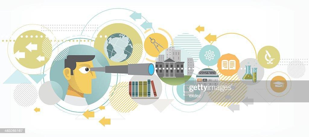 Busca mejor educación : Ilustración de stock