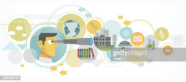 searching for better education - searching stock illustrations, clip art, cartoons, & icons