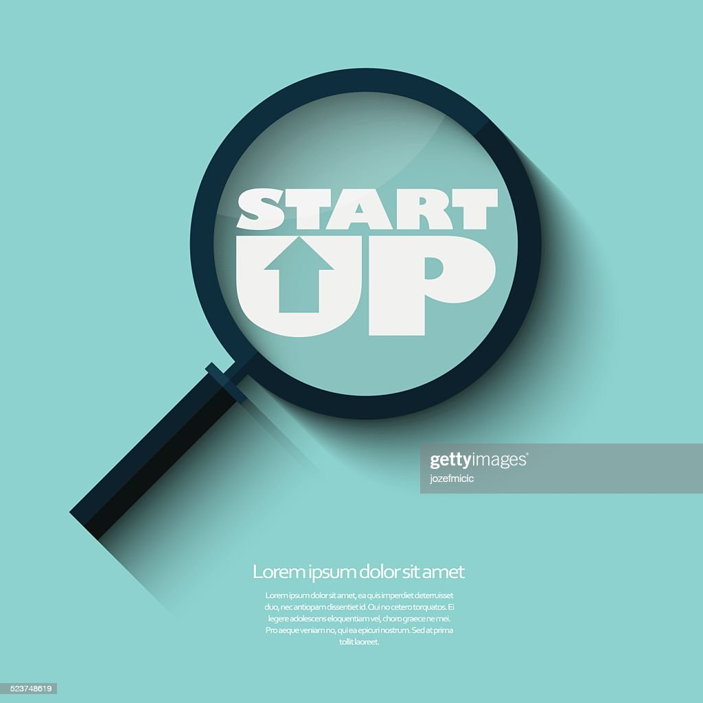 Searching for startups businesses symbol in modern flat design.