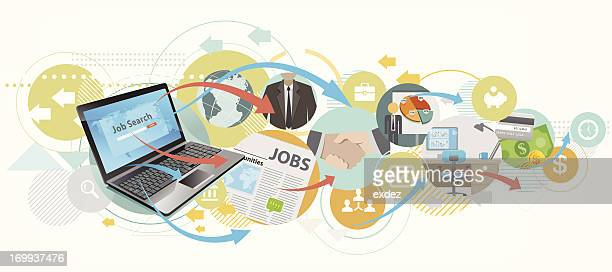 searching job by laptop - job search stock illustrations