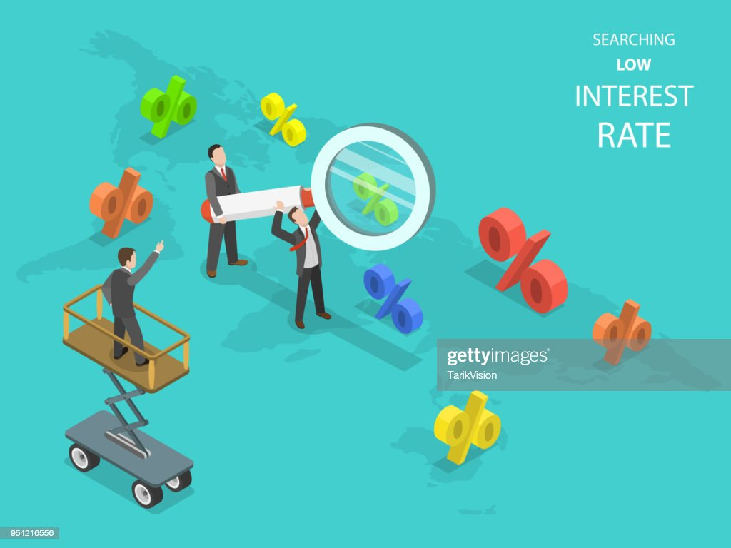 Searching low interest rate flat isometric vector.