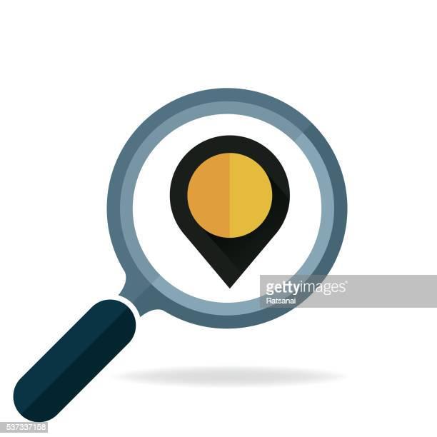 ilustrações, clipart, desenhos animados e ícones de pesquisa mapa de pontos - lupa equipamento ótico