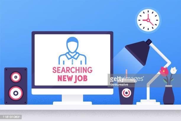 searching new job modern flat design concept - job fair stock illustrations