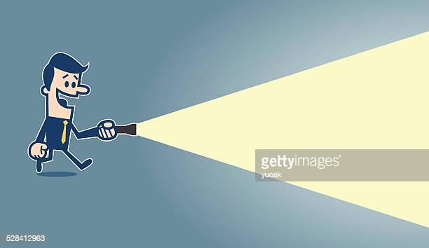 searching - flashlight stock illustrations, clip art, cartoons, & icons