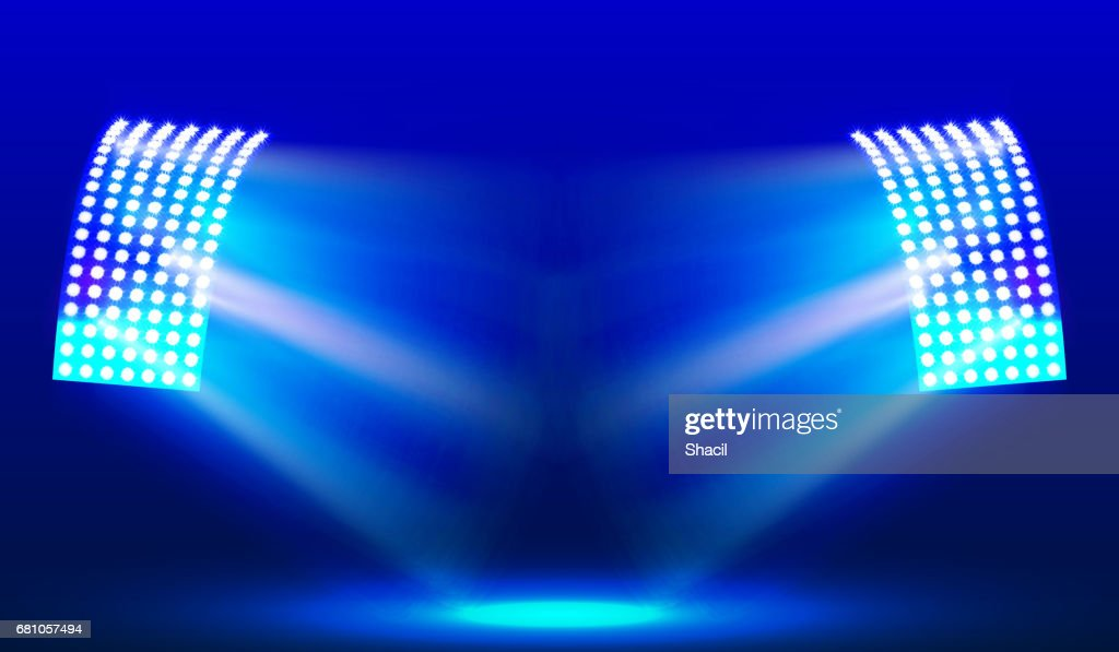 Searchlights in the stadium field. Illuminations. Vector illustration.