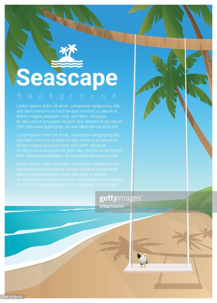 seascape background with swing on tropical beach vector illustration