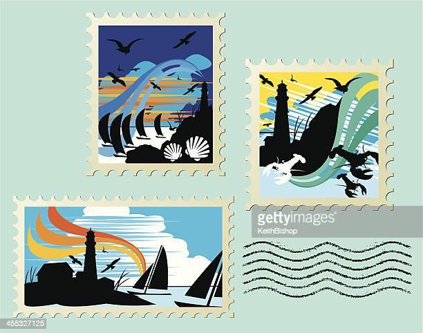 illustrations, cliparts, dessins animés et icônes de paysage marin timbres bateau à voile, phare, homard - paysage marin