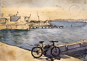 Seascape with a bicycle