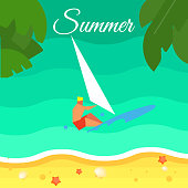 Seascape with Surfer. Summer Banner