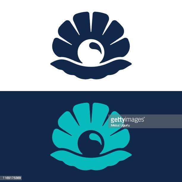 seashell line and glyph logo - pearl jewelry stock illustrations