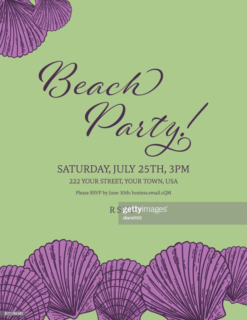 seashells border with a beach party invitation template vector art