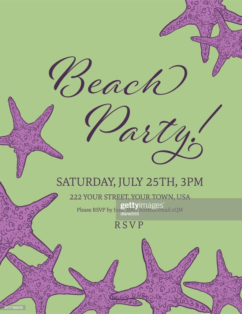 ビーチ パーティー招待状のテンプレートと貝殻の国境 ベクトルアート