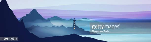 seashore landscape with lighthouse - lighthouse stock illustrations