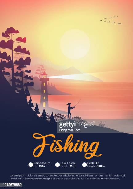 seashore poster at night with lighthouse and fisherman - mountain logo stock illustrations