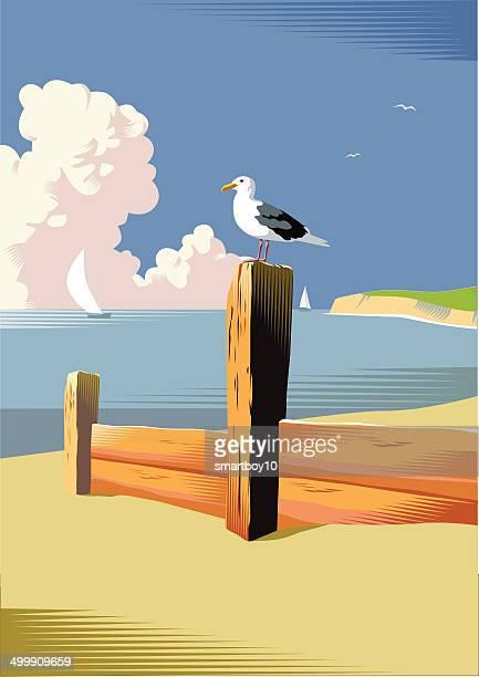 Seaside beach scene
