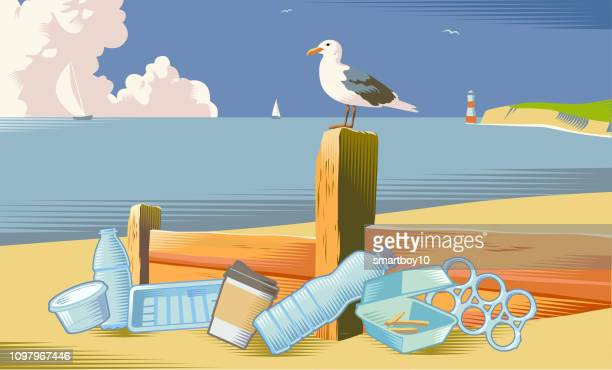seaside beach scene with litter - water pollution stock illustrations