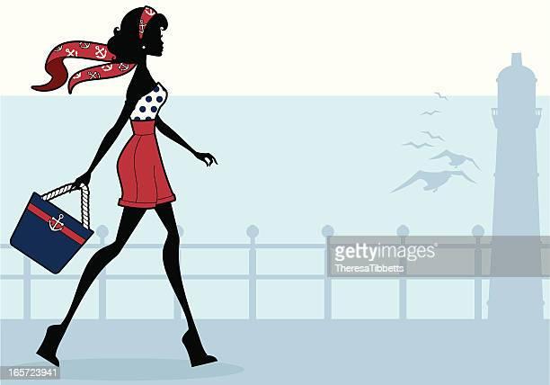 illustrations, cliparts, dessins animés et icônes de fille de mode en bord de mer - sac