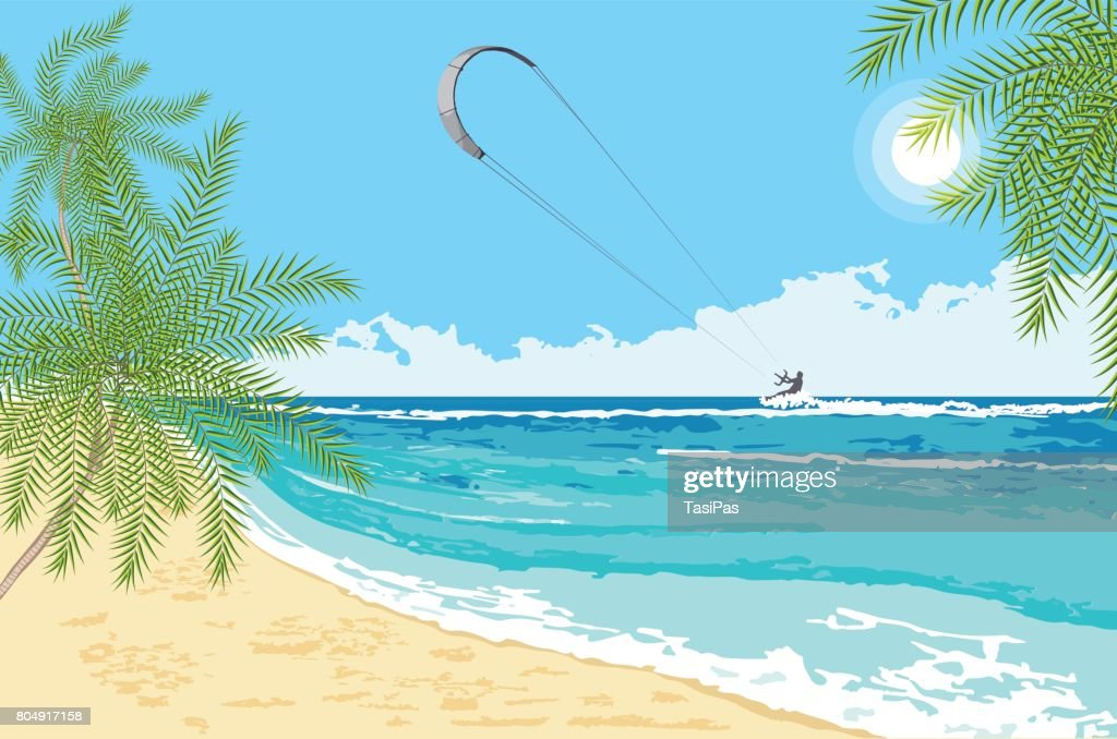 Seaside landscape with  sea kite