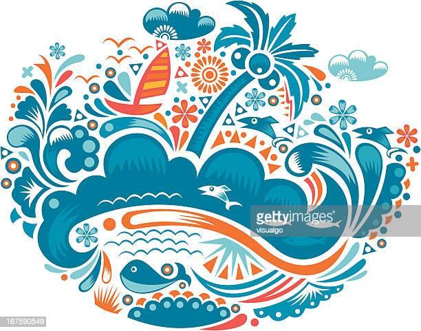 illustrations, cliparts, dessins animés et icônes de paysage de bord de mer - baleine
