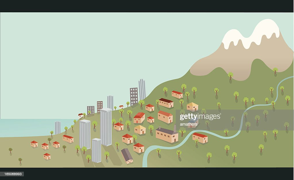 Seaside Town on Mountain Hill with River : stock illustration
