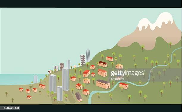 Küstenstadt auf der Mountain Hügel mit Blick auf den Fluss