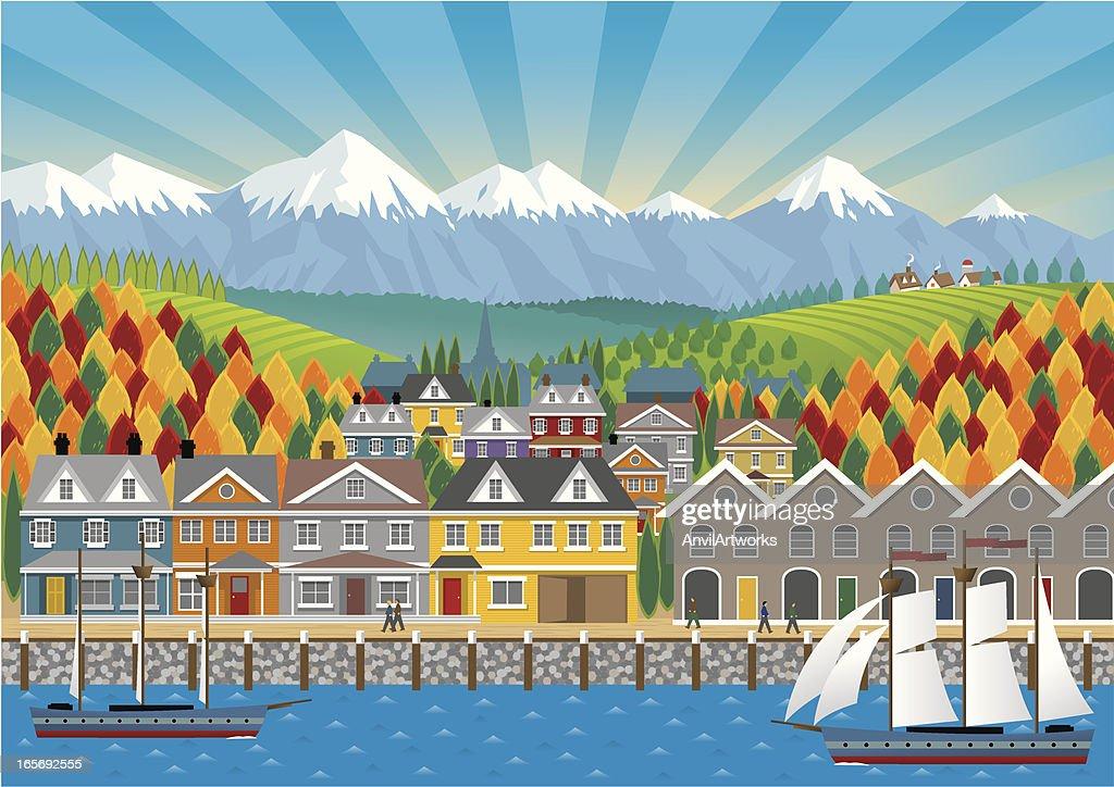 Seaside Town : stock illustration