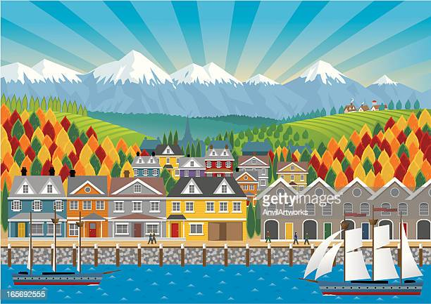 seaside town - promenade stock illustrations, clip art, cartoons, & icons